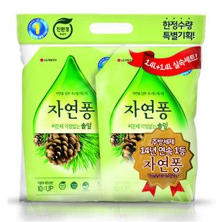 친환경)LG생활건강_자연퐁솔잎주방세제_1.4L+1.4L