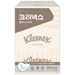 유한킴벌리 크리넥스클래식미용티슈(무향) 250매*6입